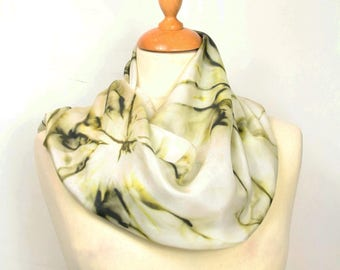 Hand painted silk scarf. Khaki green abstract silk scarf. Silk foulard. Wearable art. Luxury gift ready to ship