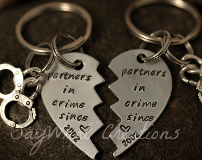 Custom Hand Stamped Best Friends Partners in Crime broken hearts KEY CHAINS Set of Two