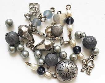 craft lot destash of gun metal gray and silver salvaged dangles beads and connector beads for repurposing--mixed lot of 24pcs