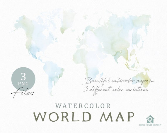 Watercolor world map instant download digital map map gumiabroncs Images