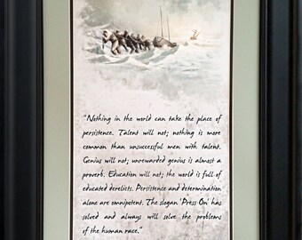 Press On!  Framed motivational artwork inspired by Calvin Coolidge's famous quote.