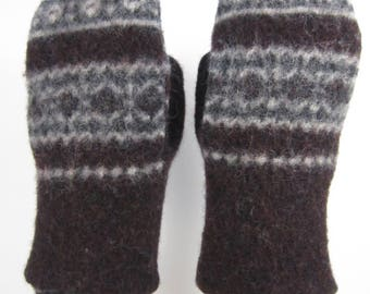 Brown Shrunken Wool Sweater Mittens
