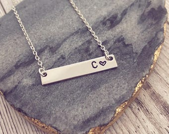 Gold or Silver Plated Personalised Initial Bar Necklace | Gift | Personalised