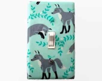 Woodland Light Switch Cover - Grey Aqua Nursery - Woodland Nursery - Fox Switch Plate