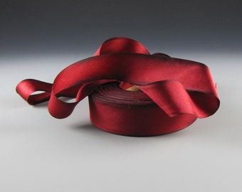 "1"" CRIMSON RED WEDDING Hand Painted Ribbon Hanah Silk Satin Valentina  Wide  3 yard length"