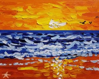 Colorful painting / small wall art / original painting / textured wall art / coastal wall art / beach decor / beach art / home decor