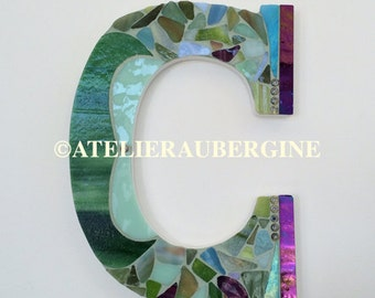 Letter  C # 5, typography with stained glass mosaic, custom letter, mosaic hanging letter