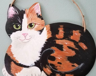 Cat Lover Gift - Calico Cat Art - Cat Wall Art - Cat Garden Painting - Calico Cat Sign - Cat Folk Art - Cat Memorial - Cat Yard Art