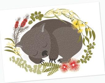 Wombat and Australian Flora Poster digital download, Native Aussie animals, cute wombat art, bottlebrush, gum tree leaves Australia flora