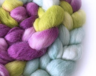 Superfine Alpaca Roving . Hand Dyed . Hand Painted . 100% Combed Alpaca Roving  . OOAK . Spinning Supply . 4oz . Aqua . Pink/Purple . Green