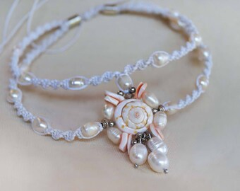 Pearl Shell Wedding Anklet, Boho Wedding Anklet, Bridal Pearl Anklet, Beach Wedding Anklet