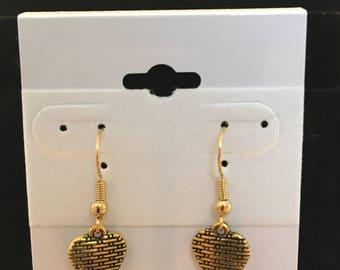 Gold Valentine's Day Heart Shaped Dangle Earrings