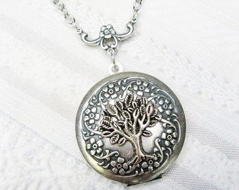Silver Locket Necklace - Silver TREE Of LIFE Locket - The ORIGINAL - Jewelry by BirdzNbeez - Christmas Wedding Birthday Bridesmaids Gift