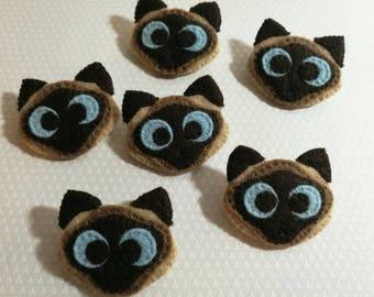 Cat Brooch - Elvis the Cross Eyed Kitty - Siamese Cat Badge - Murderino - Elvis Want a Cookie - Cat Accessory -