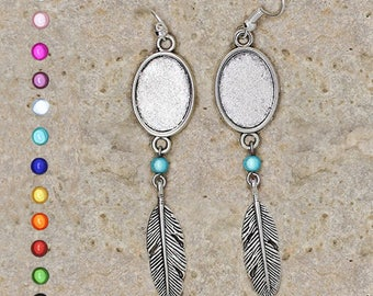 Earrings support cabochon 13 X 18 mm feathers and beads
