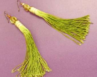 Hand Made Shoulder Duster Fine Silk Tassel Earrings In Greens, Brass And Gold Tones By Kathryne L. Wright