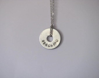 """Doctor Who Hand Stamped Washer Necklace on Chain - """"Geronimo"""""""