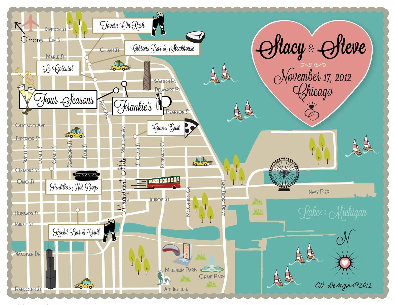 Wedding Map Custom Wedding Map Chicago Wedding Map