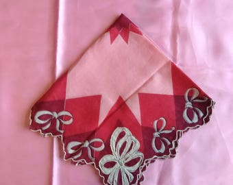 Vintage Valentine's Hanky; Red, Pink and White Handkerchief, Bows and starburst pattern