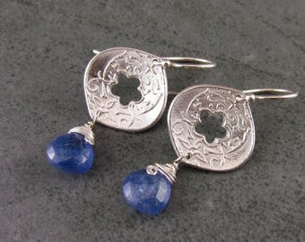 Tanzanite earrings, handmade eco friendly fine silver earrings-OOAK