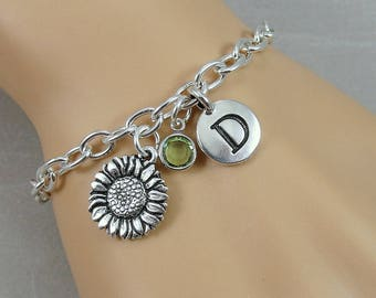 Sunflower Charm Bracelet, Sunflower Bracelet, Personalized Initial and Birthstone Bracelet, Silver Plated Link Charm Bracelet