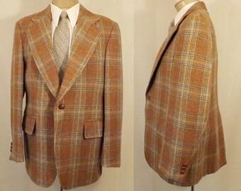 Vintage 70s John Weitz Brown Check Men's Sport coat Size 40 / 42
