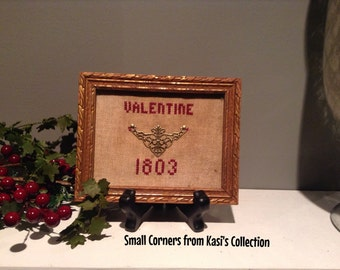 Primitive Mini Valentine Cross Stitch with Stand