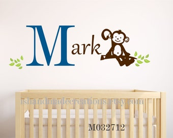 Wall Decal  MONKEY large 15 H x 43 W inches- Personalized Initial Name Vinyl Wall Decal perfect decoration for nursery or playroom