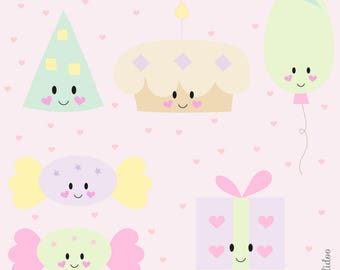 Cute Birthday Party Clipart - Kawaii Party Clipart - Kawaii Planning Clipart - For Personal and Commercial Use - Instant Download