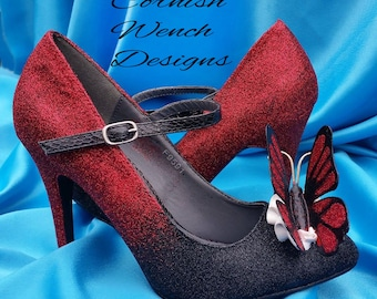 Bespoke Custom made Butterfly Heels and or Matching bag ombre, Weddings, Brides, Prom, Occassions