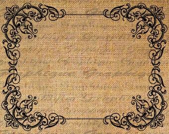 Ornate Vintage Frame Digital Image Download Sheet Transfer To Pillows Totes Tea Towels Burlap No. 5124