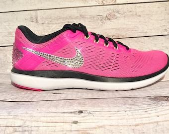 bling nike shoes- bling nikes- hot pink bling nikes- sparkly nikes- pink bling nikes- crystal nike shoes- crystal nikes- bling running shoes