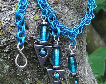 maille necklace, bluegreen, with hematite and turquoise