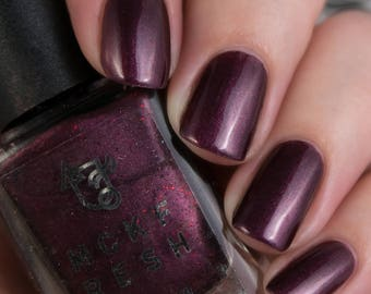 REVAMP Willow - Indie Nail Polish Black/Maroon with Plum and Red Glitters