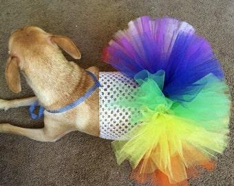 Rainbow dog tutu, rainbow pet tutu, rainbow dog dress, rainbow dress, halloween costume for dogs, rainbow party, rainbow dog