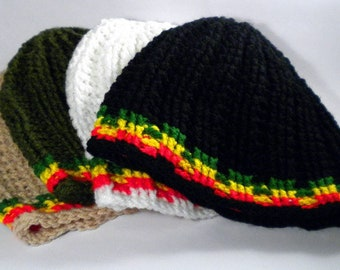 Rasta beanie, surf hat, custom rasta clothing, crochet reggae beanie, Jamaica, rastaman hat