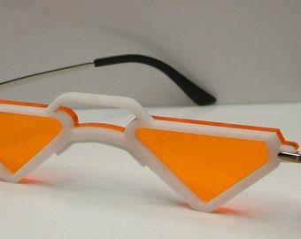 Anime mic triangular orange lens white frame cosplay costume glasses.