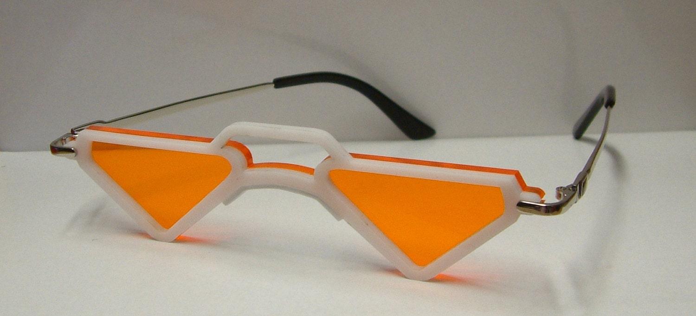 Anime mic triangular orange lens white frame cosplay costume
