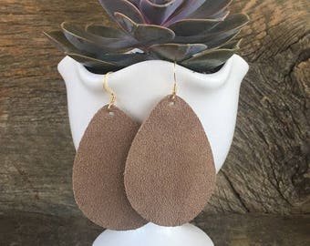 Leather Earrings/Statement Earrings/Gifts for Her/Teardrop Earrings/Drop Earrings/Lightweight Earrings/Diffuser Jewelry/Tan Suede Earrings
