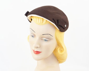 Vintage 1950s Brown Felt and White Beret