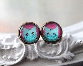 Cat  clip earrings sweet lolita feminine blue teal  tabby kitty kitten kitteh