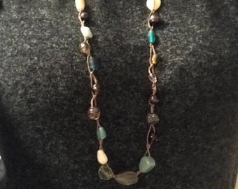 Boho beaded necklace in earth tones