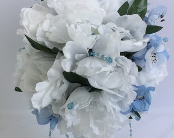 Bridal Bouquet - White and Blue Silk Flowers with Austrian Crystals