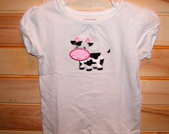 Girls Applique top...Cow...0-24 months Onsie and 2T to 6 Girls shirt