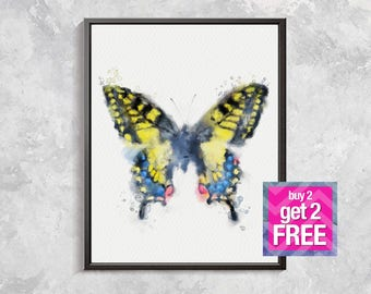 Butterfly Print,  Butterfly watercolor, Butterfly Wall Art, Room Decor, Watercolor printable, Butterfly artwork, Yellow Butterfly decor