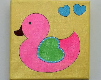 Cute animal wall art. Pastel animal cartoon paintings for kids room /play area - Acrylic on stretched canvas