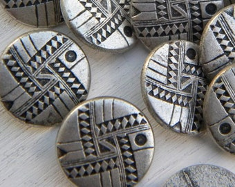 Buttons! Silver Metal Buttons with shank. Geometric design -sewing buttons - crafting -  6 pcs.
