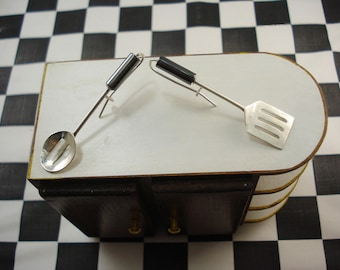 Spoon and Spatula with Slots Utensil Earrings