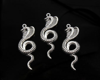 2 Pcs Large Snake Charms Antique Silver Tone 20x50mm- YD2898