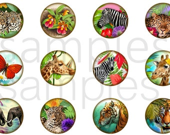 "1"" Inch Wildlife Flatback Buttons, Pins or Magnets 12 Ct."